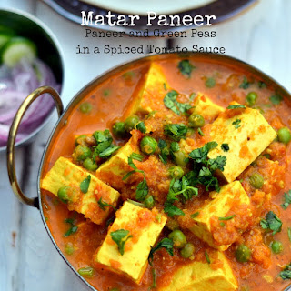 Matar Paneer ~ Paneer and Green Peas in a Spiced Tomato Sauce.