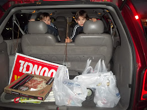Photo: Ready to go!  Manasseh was very upset that he didn't get to help put the cart away tonight.