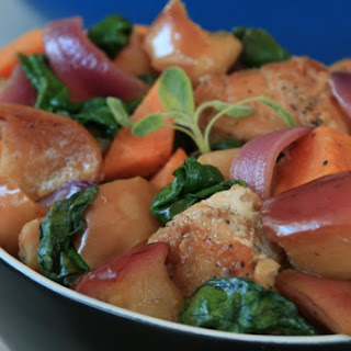 Chicken with Apple, Sweet Potato  and Spinach.