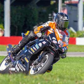 Max!!! by Yves Sansoucy - Sports & Fitness Motorsports ( orange, motor, green, race, racer, grass, black, motor bike race, motor bike, track, tire, bike )