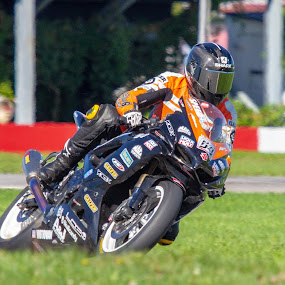 Max!!! by Yves Sansoucy - Sports & Fitness Motorsports ( orange, motor, green, race, racer, grass, black, motor bike race, motor bike, track, tire, bike )