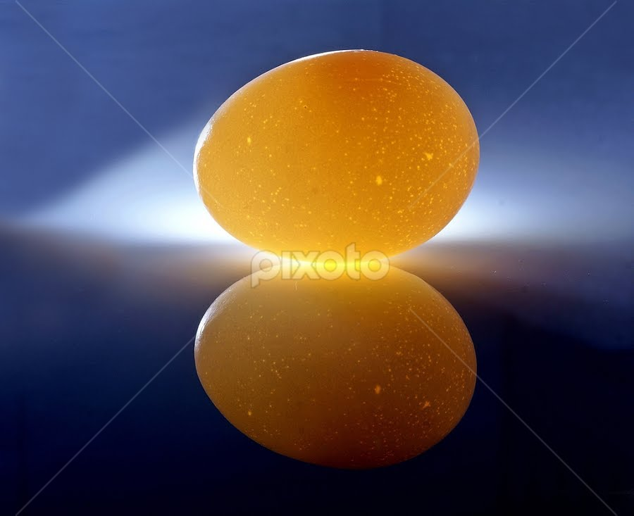 An Egg and its Reflection............... by Aroon  Kalandy - Artistic Objects Other Objects ( concept, reflection, lighting, aroon kalandy, torch light, table top, egg )