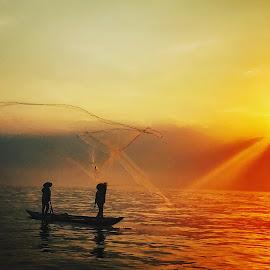 Sunrise Fishing-Net  by Alda Waddell - Uncategorized All Uncategorized ( vietnam hoian )