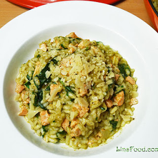 Pesto Risotto with Salmon.