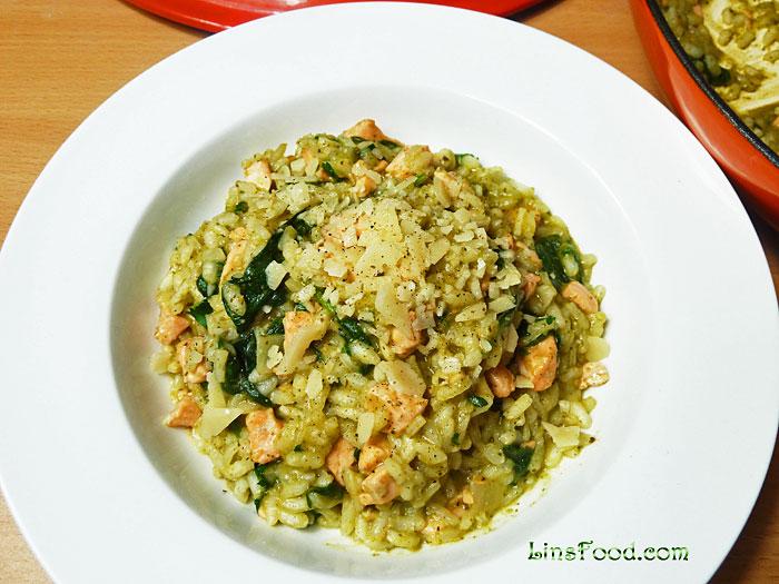 Pesto Risotto with Salmon Recipe