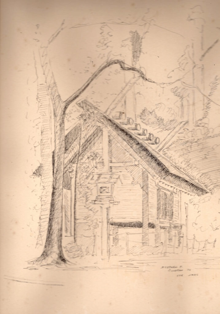 Pen & ink drawing done in 1976 of Mishine-no-mikura, Ise Jingu, Itsukujima, Japan.
