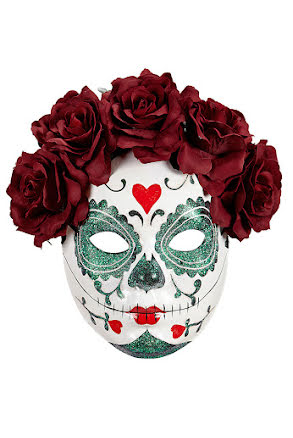 Day of the dead, ansiktsmask med vinröda blommor