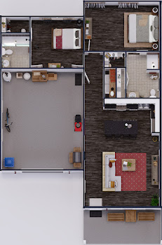 Go to Two Bed, Two Bath Single-Story Cottage Home Floorplan page.