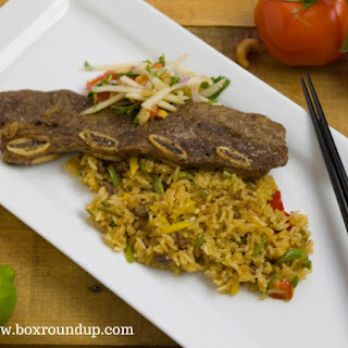 Ling Ling Fried Rice with Pear Salad and Pear Marinated Short Ribs.