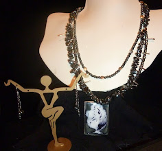Photo: <BEREHYNYA> {Great Goddess Protectress} unique one-of-a-kind statement jewellery by Luba Bilash ART & ADORNMENT  STARRY NIGHT - ЗОРЯНА НІЧ - copper enamel pendant, hematite, SS spacers/lobster claw clasp/chains/French wires SOLD/ПРОДАНИЙ