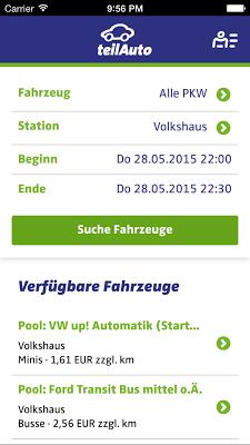 teilAuto Carsharing - screenshot