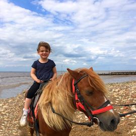 Horse ride by Alan Lewis - Instagram & Mobile iPhone ( clouds, child, olloclipstudio, sky, olloclip, family, horse, daughter, beach )