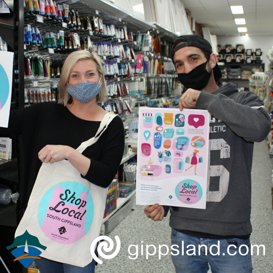 The 'Shop Local' campaign features advertising, shop signage, posters, a social media campaign, and reusable bags featuring the Shop Local South Gippsland branding that will be available through many local businesses