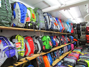 Photo: Go figure...backpacks for sale in the backpacker haven
