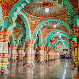 A historical palace interior by K ABHIJITH  - Buildings & Architecture Public & Historical ( palace, pillars, traditional, architectural detail, historical, designs,  )