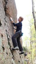 Photo: Sylvia giving the start of a face climb a go.