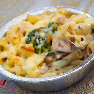 Cheesy Ham and Shrimp Macaroni Au Gratin
