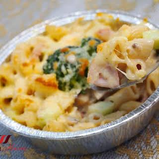 Cheesy Ham and Shrimp Macaroni Au Gratin.