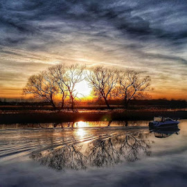 by Monita Alstadsæter - Landscapes Sunsets & Sunrises ( sunset, trees, water, boat )