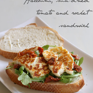 Halloumi, Sun-dried Tomato And Rocket Sandwich.