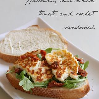 Halloumi, Sun-dried Tomato And Rocket Sandwich.