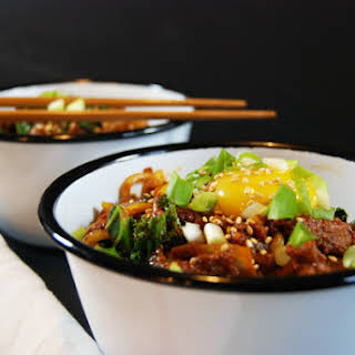 Spicy Pork Chorizo Noodles with Kale and Egg.