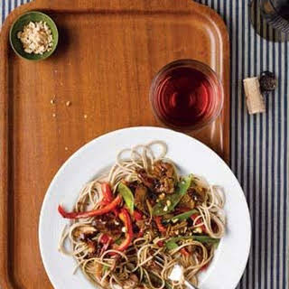 Slow-Cooker Asian Pork With Snow Peas, Red Peppers, and Soba Noodles.
