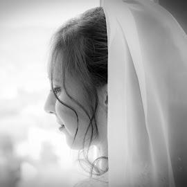 Waiting by Jurica Žumberac - Wedding Bride ( bride, love, wedding photography, happiness, wedding, black and white, portrait )