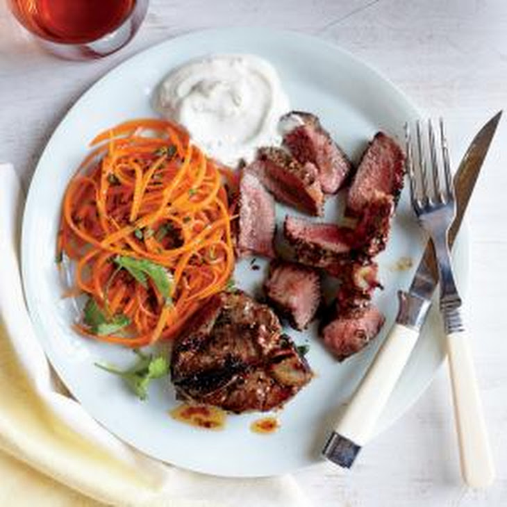 Coriander-Thyme Lamb Chops with Yogurt Sauce Recipe