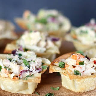 Asian-style Tuna Wonton Cup Appetizers.