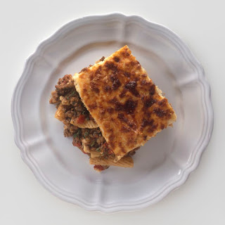 Recipe for Pastitsio (Baked Pasta with Meat and Bechamel Topping).