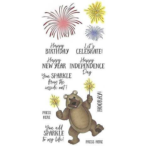 Art Gone Wild Nicole Tamarin Clear Stamp Set - Sparkler Bear UTGÅENDE