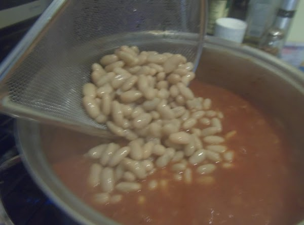 Add the tomatoes, dill, and beans. Right before you are going to serve add...