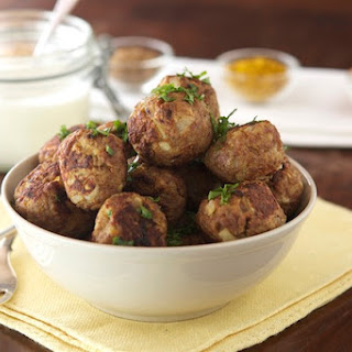Indian Style Meatballs with Roasted Garlic Cream.