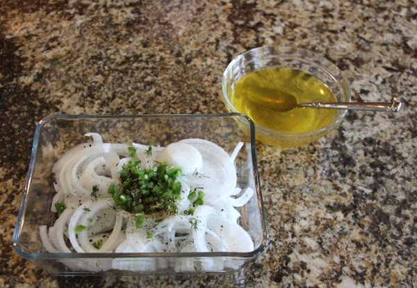 Add onions and jalapenos to bowl...mix remaining ingredients together and pour over the onion/jalapeno...