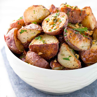 Crispy Garlic Roasted Potatoes.