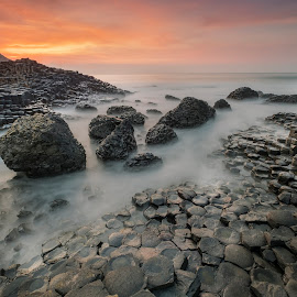 Catching the last light by Wojciech  Golebiewski - Landscapes Sunsets & Sunrises ( natural light, nobody, fuji x, skyline, beautiful, beauty, landscape, coastline, county antrim, sky, nature, sunset, fujifilm, northern ireland, long exposure, rocks, natural, travel photography, golden hour )