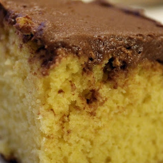 BEST Yellow Cake with Chocolate Buttercream Frosting