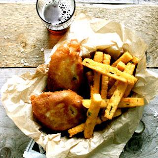 Irish Ale Battered Fish + Chickpea Chips.