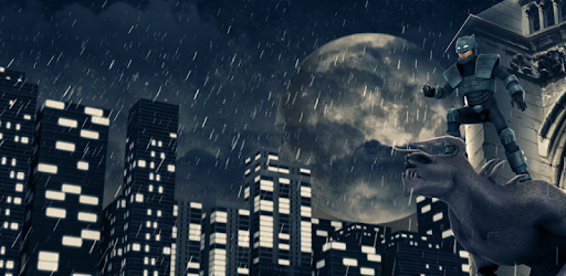 Dark Superhero 3D action game. Fly over the night city, fight crime, be a hero!