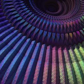 3-D Mandala Detail by Lyle Hatch - Illustration Abstract & Patterns ( modern, kaleidoscope, dark tones, contemporary, mandelbulb 3d, mysterious, 3-d, moody, rich colors, fractal, shadows, three dimensional, mandala )