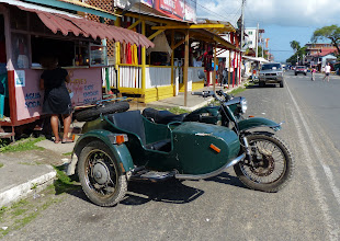 Photo: Cool old motorcycle!  Or so we thought.  Turns out it's a later model.  Still pretty cool.  It's a Ural.