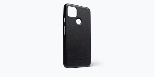 Angled view of the Bellroy Leather Case for Google Pixel 5a (5G) in black.