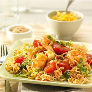 Sweet & Sour noedels met garnalen, Chinese kool en tomaatjes