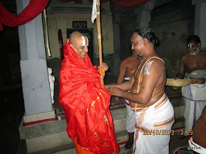 Photo: yathirAja jIyar with emperumAnAr prasAdham (mAlai and parivattam)