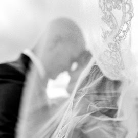 In the Wind by Kate Gansneder - Wedding Bride & Groom ( bride, wedding dress, groom, couple, wedding photography, wedding, black and white, monotone )