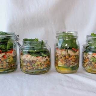 Salad in a Jar with Lentils, Chick Peas & Brussels Sprouts.