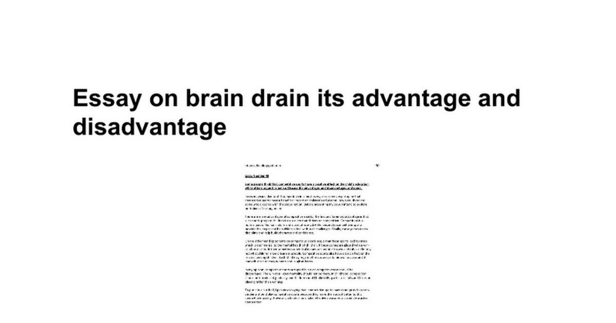 essay on brain drain its advantage and disadvantage google docs