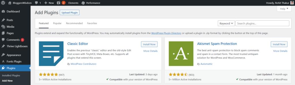 What are blogging plugins-wordpress dashboard- plugins area