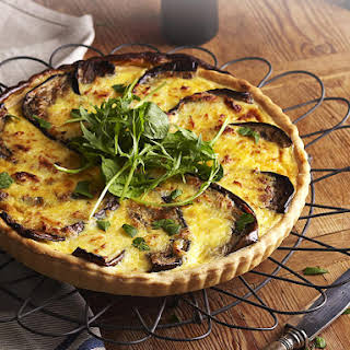 Savory Eggplant and Halloumi Quiche.